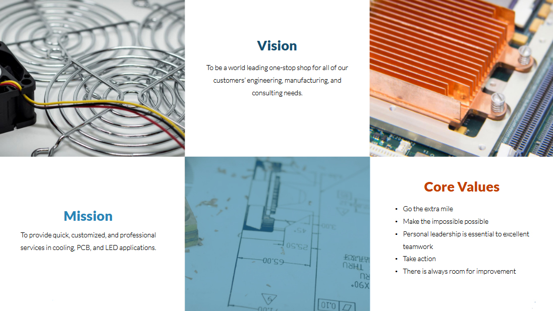 Fans | Blowers | Heatsinks Mission, Vision & Core Values